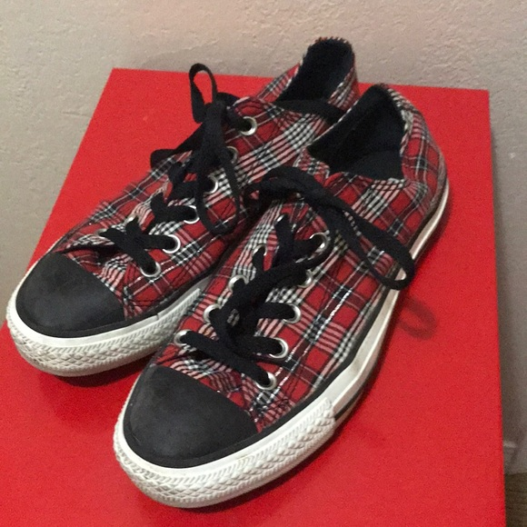 b3301ac298c Converse Shoes - Converse All Star Red Plaid Low Top Sneakers 6 8